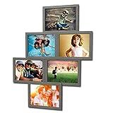 Fotogalerie für 6 Fotos 13x18 cm - 3D 603 Optik - Bilderrahmen Bildergalerie Fotocollage Rahmenfarbe Dunkelsilber