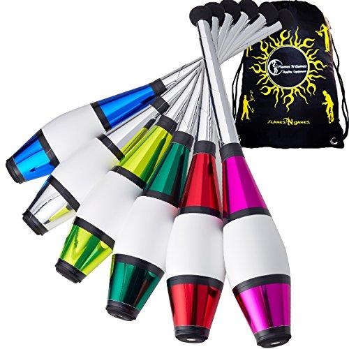 1 x Henrys EURO PIROUETTE Jonglier Club + Reisetasche! Glänzend Farbe Jonglierkeulen in 5 Toll Farben für Kinder & Erwachsene! Strapazierfähig Klub für Anfänger & Profi Auch! Preis für 1x Club Nur (Blau)
