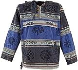 Guru-Shop Goa Kapuzenshirt, Baja Hoody Nepalhoodie, Herren, Blau, Baumwolle, Size:L, Sweatshirts & Hoodies Alternative Bekleidung