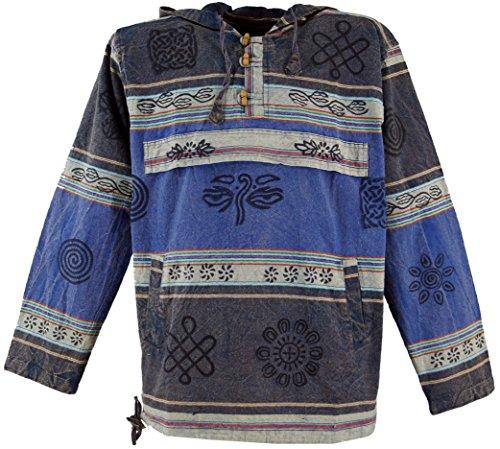 Guru-Shop Goa Kapuzenshirt, Baja Hoody Nepalhoodie, Herren, Blau, Baumwolle, Size:L, Sweatshirts & Hoodies Alternative Bekleidung - Baja Pullover Hoodies