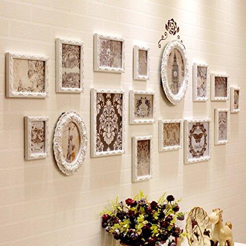 Home @ Wall Bilderrahmen Rahmenwand 12 - 16 Stück / Satz. Europäischen Massivholzrahmen Wand Schlafzimmer Wohnzimmer Sofa Hintergrund Foto Wand Dreidimensionale Geschnitzte Foto Wand ( Farbe : 2# )