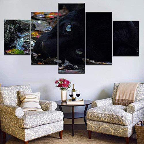 YHEGV 5 Panels Hd Wandkunst Auf Leinwand Gemälde Gestreckt Und Gerahmt Fertig Zum Aufhängen Pcs Druck Tier Black Panther Art Group Wohnkultur Wand Poster Bild-B2 Gerahmt -