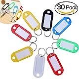 NUOLUX NUOLUX Etiquetas de plástico con llaves de colores surtidos Llaveros Identificador de equipaje Etiquetas con etiquetas - Paquete de 30 (color aleatorio)