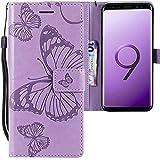 CLM-Tech kompatibel mit Samsung Galaxy S9 Hülle, Tasche aus Kunstleder, großer Schmetterling lila, PU Leder-Tasche für Galaxy S9 Lederhülle