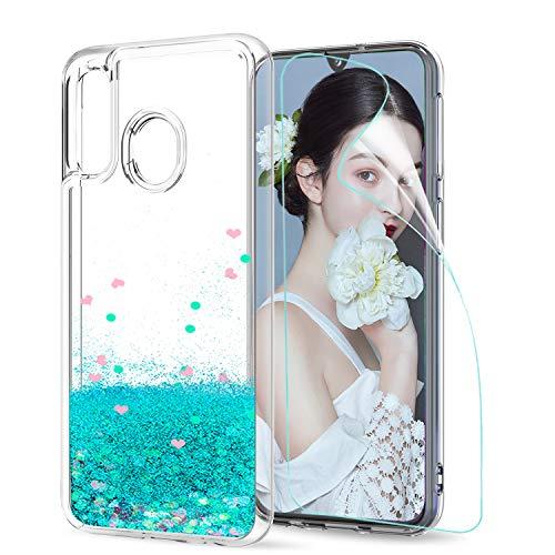LeYi Custodia Galaxy A40 Glitter Cover con HD Pellicola,Brillantini Silicone Liquido Sabbie Mobili Bumper TPU Case per Custodie Samsung Galaxy A40 Donna ZX Turquoise