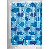 InterDesign Moby Schimmel-/Spakresistenter Wasserdichter Duschvorhang aus PEVA, 183 x 183 cm, blau