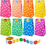 Augshy 40 Pcs Favor Paper Bags Dot Pattern with A Roll of 100 Smile Face Stickers for Kids Chirstmas Birthday Party Supplies