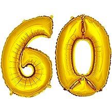 DekoRex® Globo de la hoja 40cm Balón Número de oro brillante argentado Decoración del globo del cumpleaños No 60