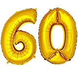 DekoRex® Folienballon Zahlenballon Luftballon Geburtstag Deko 40cm Gold Zahl: 60