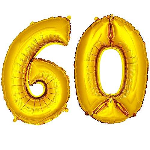 DekoRex número Globo decoración cumpleaños Brillante para Aire en Oro 40cm de Alto No. 60