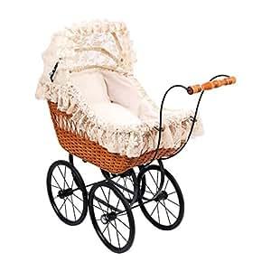 """Puppenwagen """"Cornelia"""" aus Holz, bewegliches Verdeck aus Gaze mit niedlichen Spitzen-Motiven, Puppenbett inkl. passendem Zubehör (Kissen und Decke), für drinnen und draußen, auch als schöner Dekorationsartikel geeignet"""