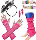 ArtiDeco Damen 80er Jahre Zubehör 1980s Disco Party Kostüm Outfit Zubehör Set Inklusive Stirnband Ohrringe Armbänder Beinlinge Fischnetz Handschuhe (Set-12)