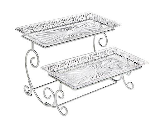 Godinger Silber Art Dublin 2-stufig Kristall Schritt verchromt Spirale Starburst Design Buffet Party Server für Vorspeisen, Desserts, Sandwiches -