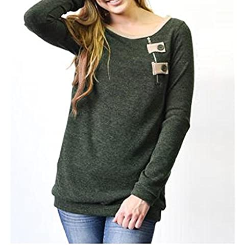 Coversolate Mujeres Otoño Invierno Zipper Button Top Blusa