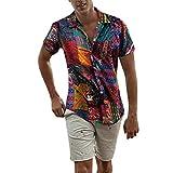 Italily Uomo Camicia Etnica Stampa Tradizionale Hippy Boho Camicia,Uomo Eleganti Slim Fit Casual Manica Corta T-Shirt Casuale Biancheria di Cotone Stampa Hawaiano Camicetta