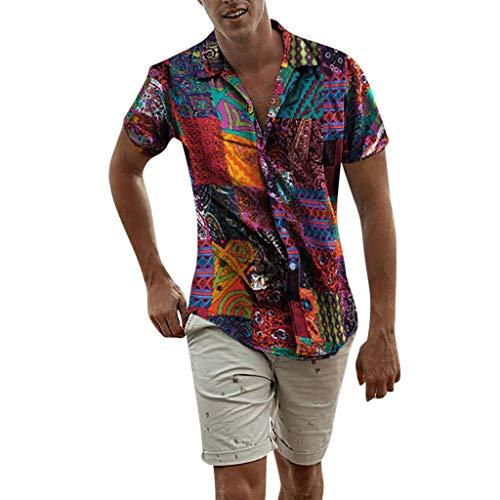 BaZhaHei Herren Neu Sommer Oversize Vintage T-Shirt Freizeithemd Freizeit Hemd Kurzarm Slim Reise Hawaiihemd für Männer Ethnische Casual Baumwolle Leinen Druck Bluse (XL, Multicolor) -