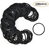LABOTA 100 Stücke 3mm Schwarz Haargummis ohne Metall – Elastisch Stirnband Pferdeschwanz Halter Für Dicke Schwere und Lockiges Haar