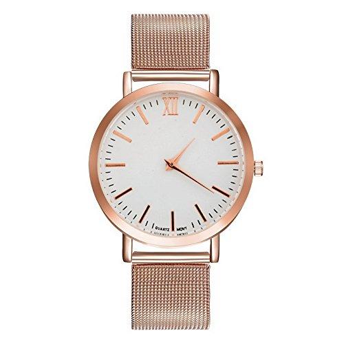 Souarts Damen Armbanduhr Einfacher Stil Quraz Deko Uhr mit Batterie Charm Geschenk (Rosegold)