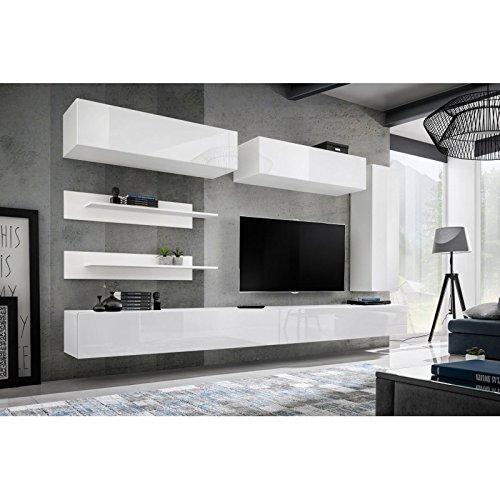 78a79ae56d23e Paris Prix - Meuble TV Mural Design Fly XV 320cm Blanc