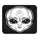 Mouse Pads Black Alien Head with Starry Eyes with Space Inside Sticker Pin Bag Badges Cartoon Paranormal Surreal Mouse Pad 7.08 (L)x 8.66 (W) inch for Notebooks,Desktop Computers Office Supplies