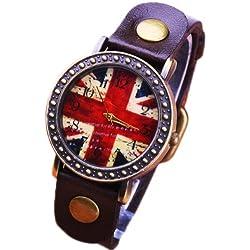 Fashion Korean British flag dial leather watch Chocolate retro watch