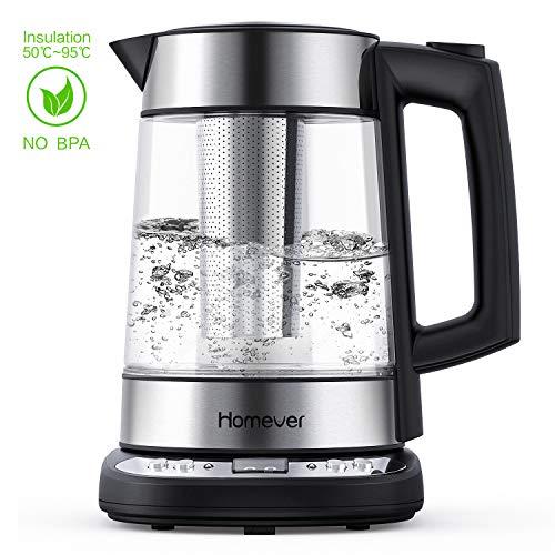 Wasserkocher Edelstahl, Homever Elektrischer Wasserkocher mit Temperatureinstellung 55°- 95°C, 2200 Watt 1.7L Glas Wasserkocher