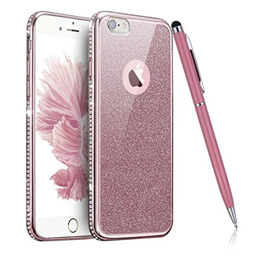 iPhone 6S Hülle,iPhone 6 Case,iPhone 6S Bling Tasche - Felfy Ultra Ultra Dünn Transparent Luxus PC Plastic Kunststoff Tasche Bling Strass Schutz Schutzhülle Case Hülle Tasche Diamant Löwenzahn Elegant Diamant Champagne Golden