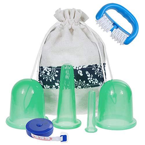 Lictin Silikon Schröpfglas Cellulite Entferner Massagegerät mit 4 Silikon Vakuum Schröpfgläser 1 Cellulite Roller Cellulite Saugglocke Anti Aging Anti Cellulite für Gesicht und ganzen Körper