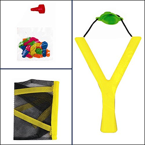 Kids Lawn Garden Summer Toy-Sling Shot Water Bomb Catapult With 20 Balloons For Great Outdoor Fun (Yellow)