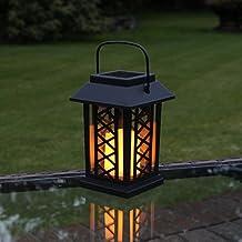 Farol solar para vela con luz parpadeante LED ámbar, 17,5cm color negro por Festive Lights