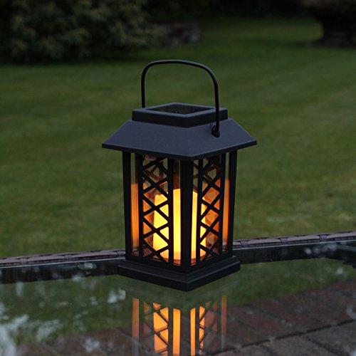 schwarze Solar Laterne mit LED Kerze und täuschend echt wirkenden Flacker-Effekt, von Festive Lights - Beleuchtung Fuß-kerzen