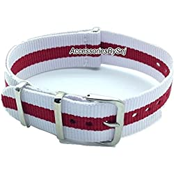 AccessoriesBySej ® TM - G10 NATO MOD NYLON WATCH STRAP - 35 Different Styles & Sizes - (20MM WHITE/RED/WHITE 3S) - Presented with a FREE Luxurious AccessoriesBySej ® TM Velvet Gift Pouch/Bag