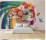 Fotomurales Tamaño Personalizable Papel Tapiz De Fotos En 3D Pintura De Belleza India Mural Sala De Estar Sofá Tv Fondo Dormitorio Tela De Seda Mural 300(Ancho) X210(Alto) Cm