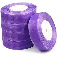 Sonline 25mm Cinta de Organza Borde Tejido Organza 50 Yarda / 6 Colores Accesorio DIY de Boda - Purpura