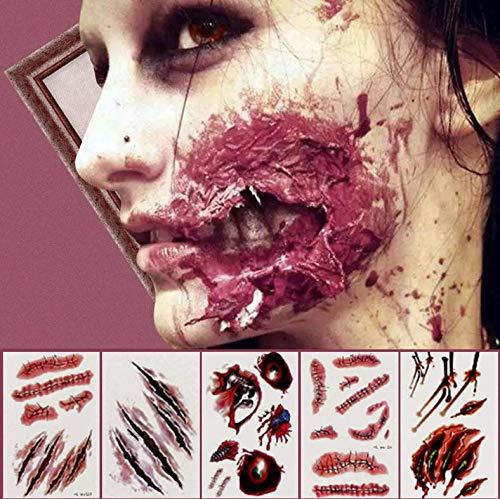 KESOTO 16 Blätter Halloween Tattoos Narben Kratzer Aufkleber Scar Blut Sticker