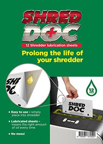 Shred Doc–12tiras de papel (corte en cruz de papel Hojas/sobres de lubricación de aceite–apto para todos los y trituradoras