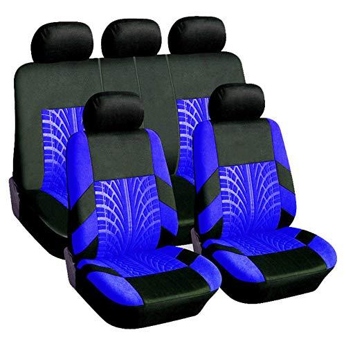 Asiento De Coche De Lujo Cubre Conjunto Completo Tejido Protector Universal De Automóvil Estilo Accesorios Interiores Conjunto Para Coches-Trajes Atletas, Animales Domésticos Y Niños,Blue