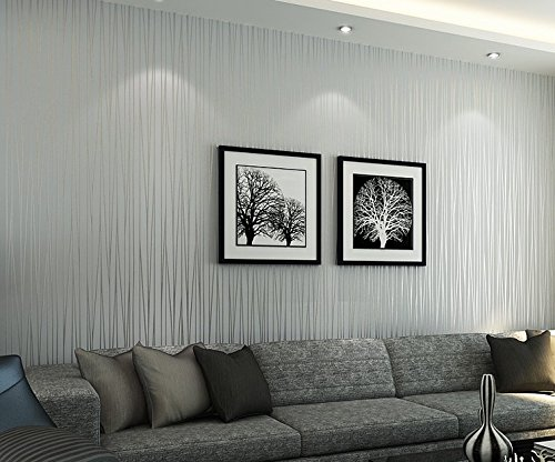 Simple and modern non-woven wallpaper wall-to-wall thickened green stripe wallpaper bedroom customers TV background wall,Thick silver (Womens-volleyball Silver)