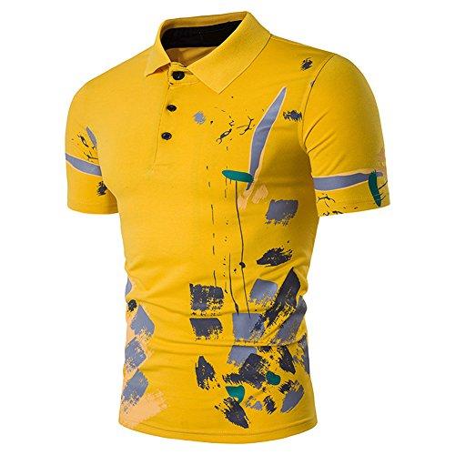 Glestore Herren Ausdrucken Muster Sommer T-shirt 70Gelb