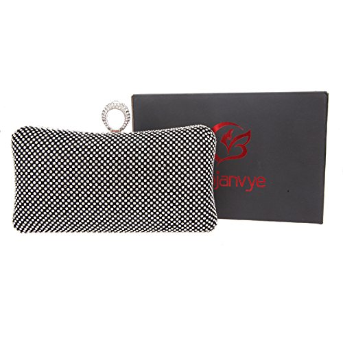 Bonjanvye Bling Ring Clutch Purse for Women Rhinestone Clutch Evening Bag Red Black