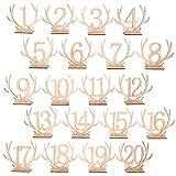 BESTOYARD 20 stücke 1-20 Holz Tischnummern Herz Holz Zahlen für Hochzeit Tischdeko (Geweih)