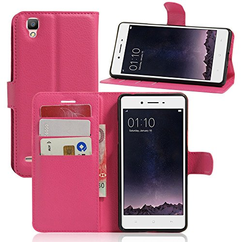 Tasche für OPPO F1 (5 zoll) / OPPO A35 Hülle, Ycloud PU Ledertasche Flip Cover Wallet Case Handyhülle mit Stand Function Credit Card Slots Bookstyle Purse Design Rose Red