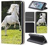 CoverFix Premium Hülle für Apple iPhone 5 / 5s Flip Cover Schutzhülle Kunstleder Flip Case Motiv (1019 Pferd Hengst auf Wiese Weiß)