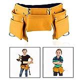 OFKPO Kinder Werkzeugtasche Leder Werkzeug Gürtel mit mehreren Taschen für Gärten