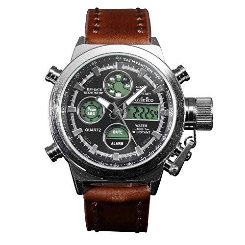 Herren Quarz Uhren Dual Digital Uhren braun Lederband silber Gehäuse