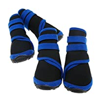 Emma Two Pairs Protective Rain Boots Waterproof Pet Dog Shoes Black M