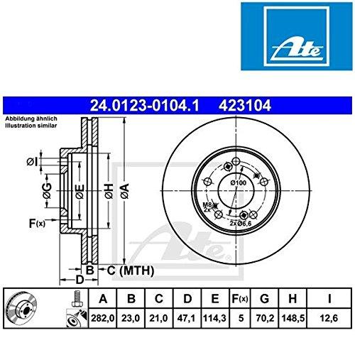 ATE 24.0123-0104.1 Bremsscheibe (Honda Prelude Bremsscheiben)