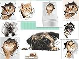 9 St. 3D-Wandaufkleber Katzen Hunde abnehmbare Dekosticker/Wandtattoos ideal für Tierliebhaber vielfältige Anwendungen Schlaf-/Kinder-/Badezimmer Küche Toilette Fenster Autos uvm.