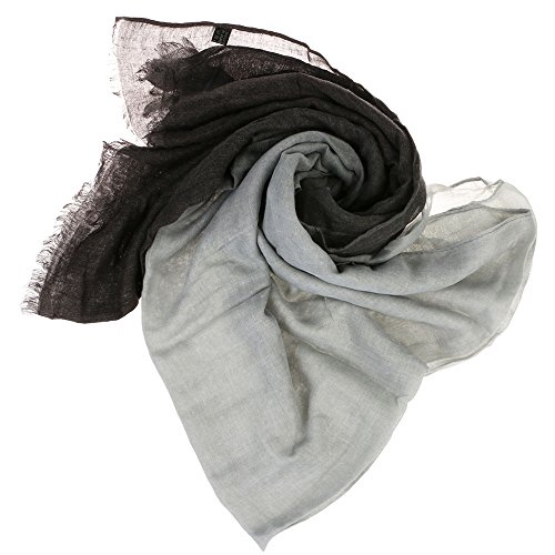 VANKER Gradual suave fular de gasa largo abrigo de la bufanda del mantón de Tippet -- gris negro
