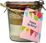 """Löbke Hof Backmischung Geburtstags-Kuchen """"Happy Birthday"""" 580ml Sturz-Weckglas"""